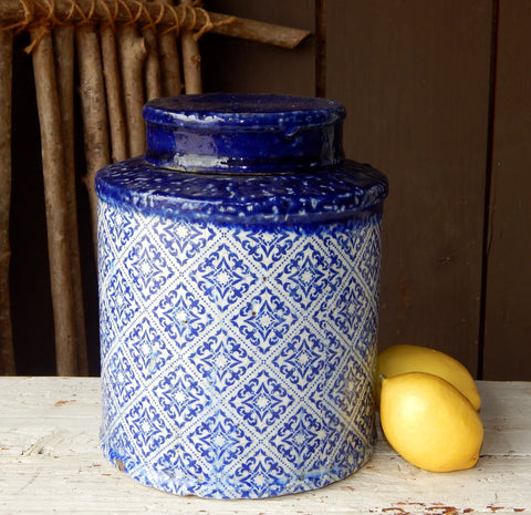 Blue & White Lidded Jar - Small