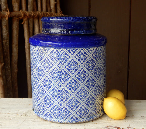 Blue & White Lidded Jar - Large