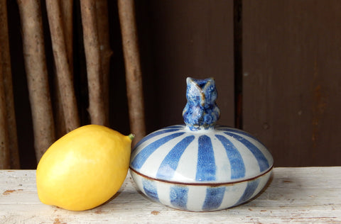 Ceramic Menagerie Striped Decorative Box - Owl