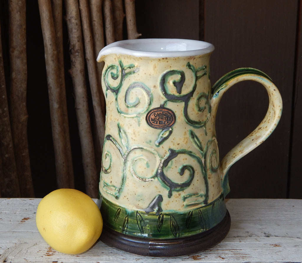 Oakland Pottery - Short Pitcher (Old Ivory & Green)