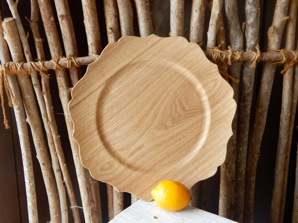 Wood Scalloped Charger