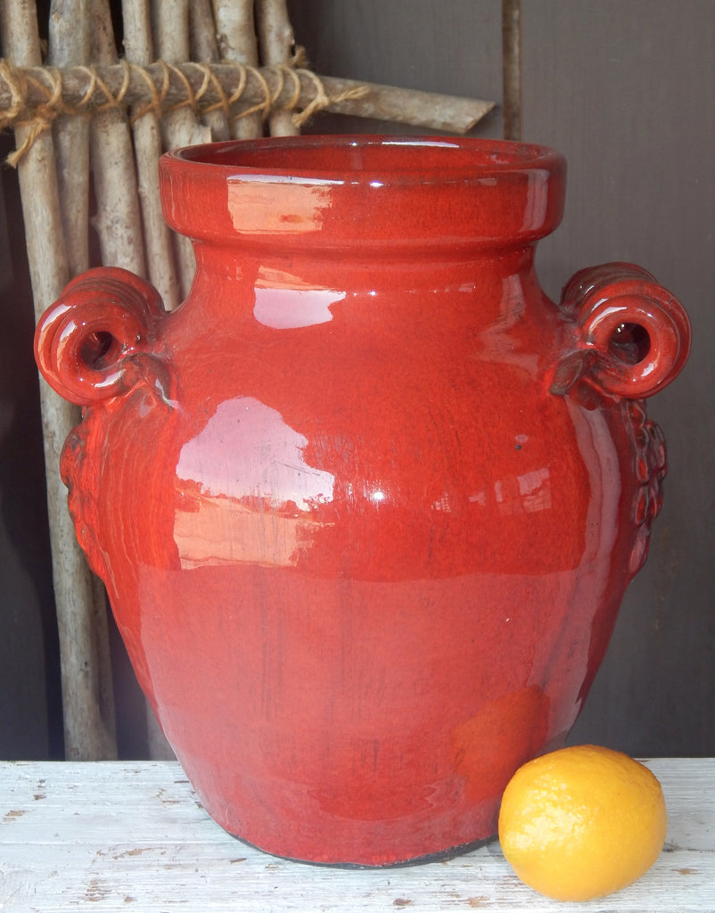 Red Hand-Thrown Jar