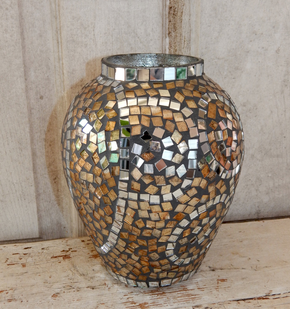 Golden Mosaic Tile Vase - Medium