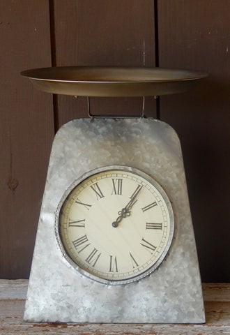 Antique Metal Scale w/ Clock