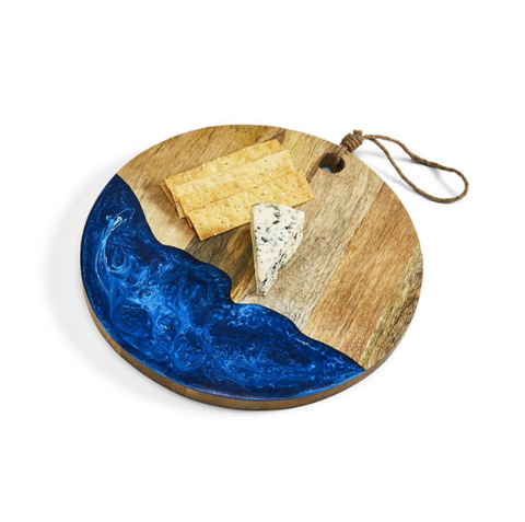 Blue Waves Round Serving Board w/ Rope Accent
