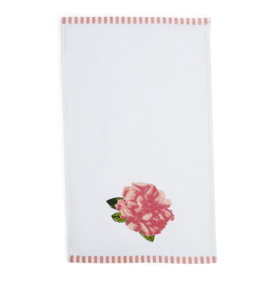 Rosy Outlook Dish Towel with Chenille Embroidery