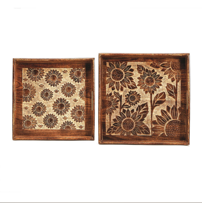 Sunflower Fields Hand-Carved Nested Tray
