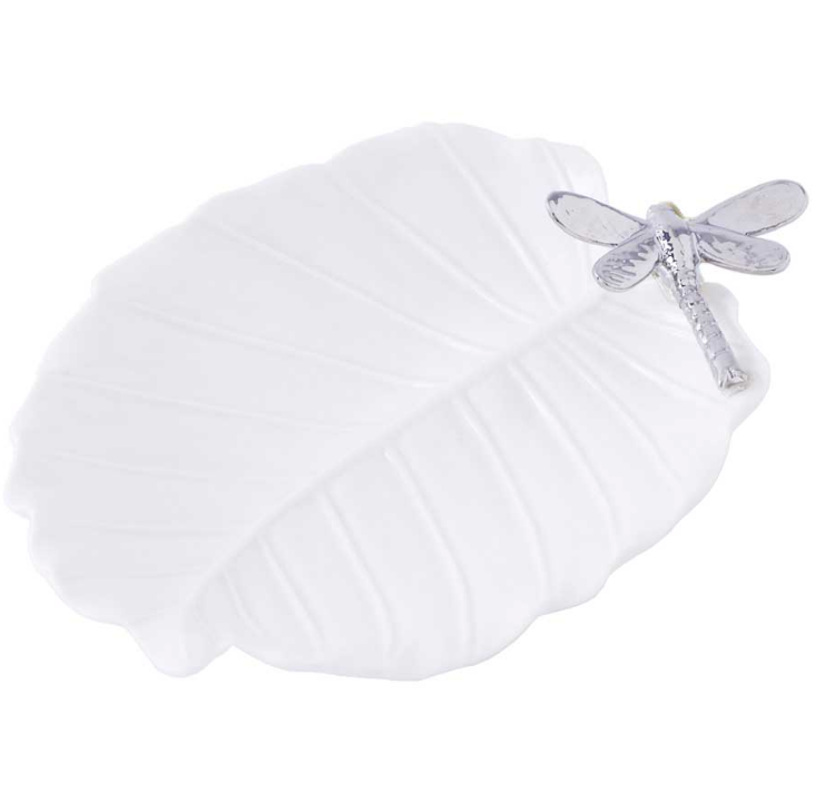 White Ceramic Leaf Dish w/ Silver Dragonfly
