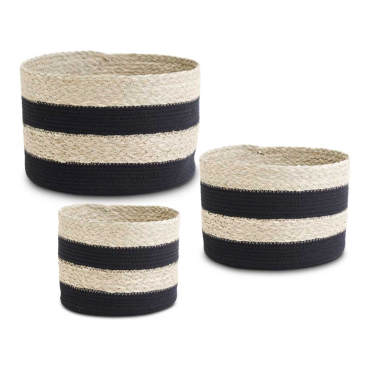 Round Black Striped Seagrass and Cotton Rope Basket