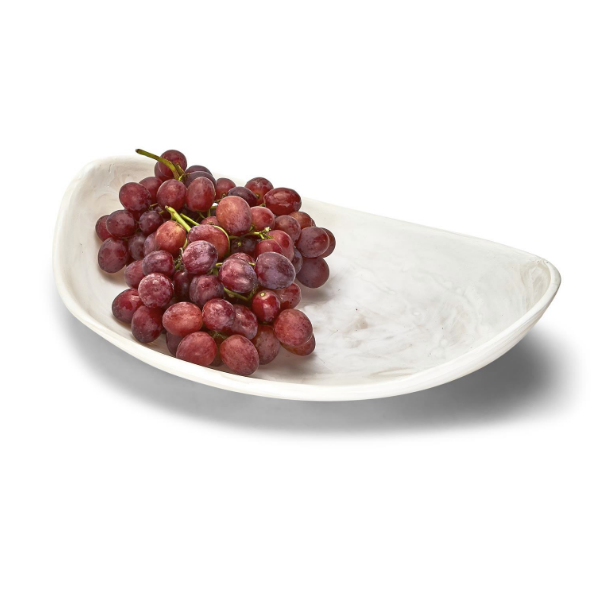 Archipelago White Cloud Marbleized Organic Shaped Platter