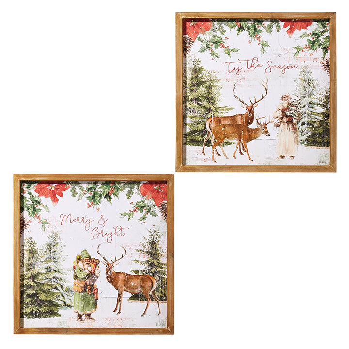 "18"" Saint Nicholas and Deer Framed Wall Art"