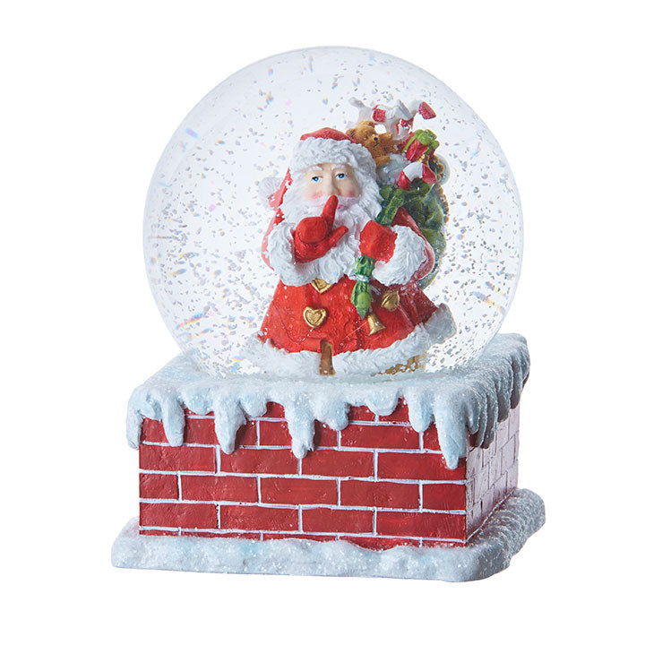 "5.5"" Santa in a Chimney Musical Water Globe"