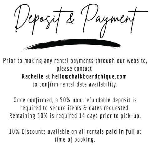 Chalkboard Chique Rental Deposit and Payment