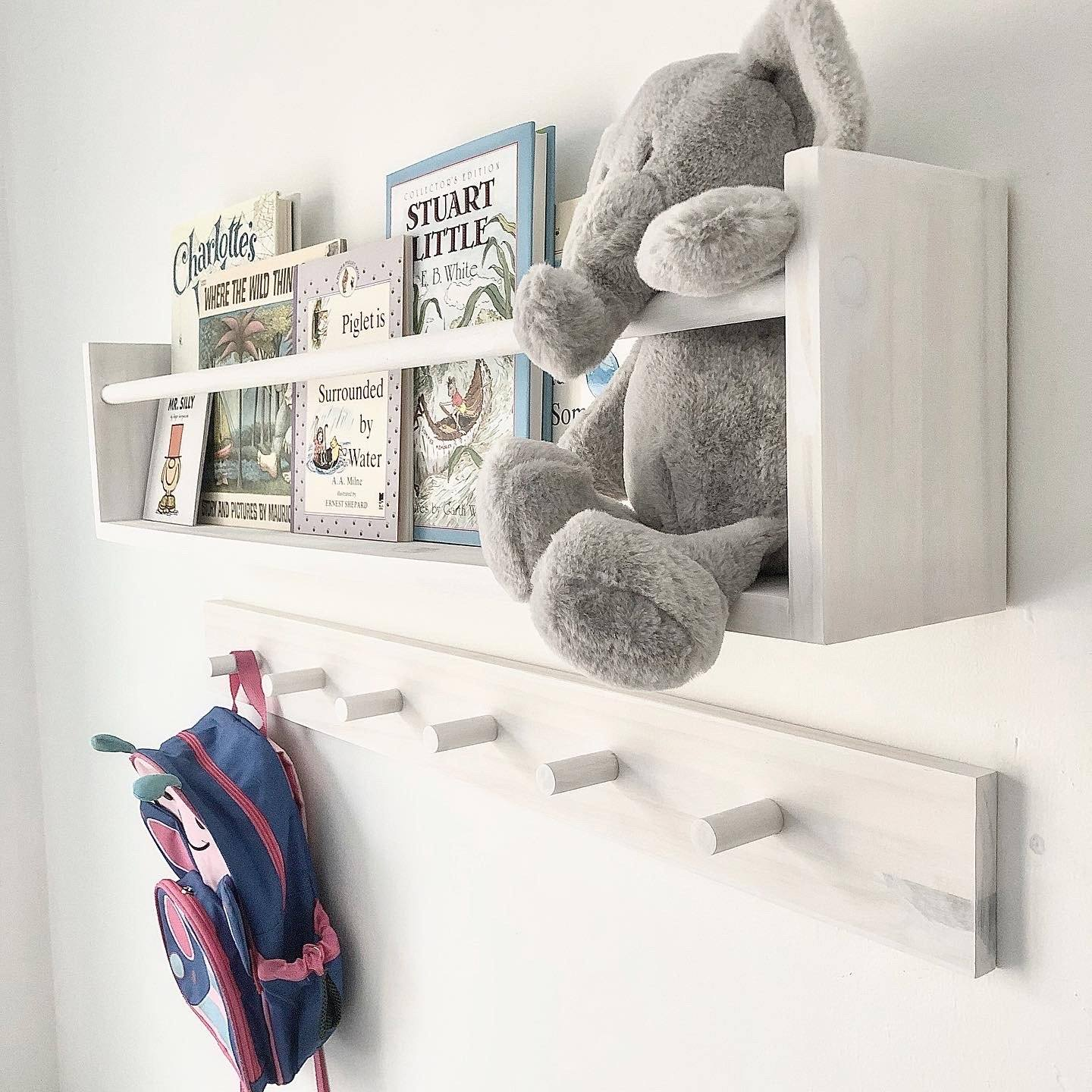 "White Wash Shelf & Peg Rack: 36"" Project Pine Designs"
