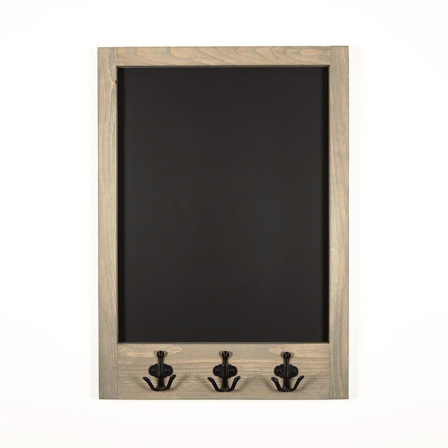 Grey Stained Chalkboard With Pine Frame And Black Anchor Hooks 20