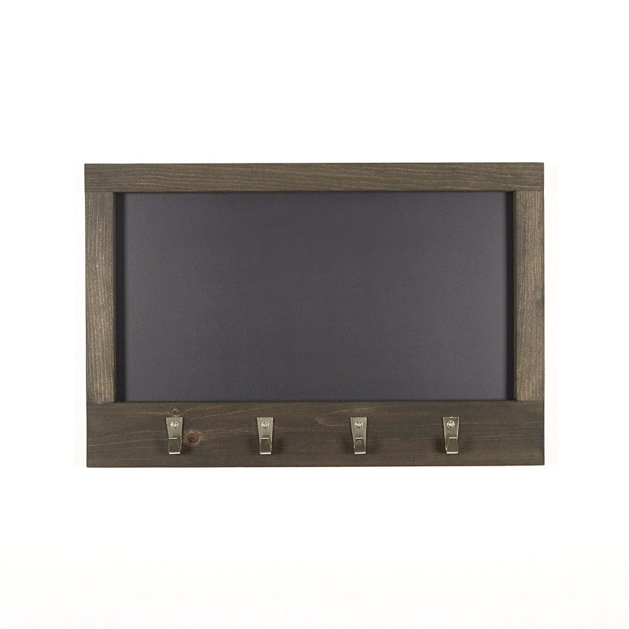 Ebony Stained Chalkboard With Pine Frame And 4 Nickel Hooks 24 X
