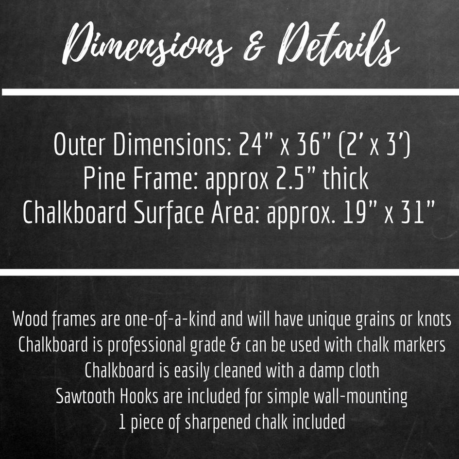 Large Chalkboard With White Wash Stained Pine Frame 24 X 36