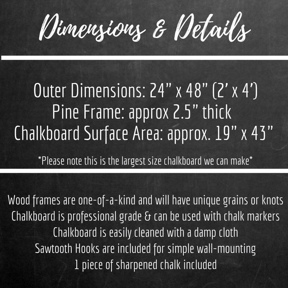 Extra Large Chalkboard With Grey Stained Pine Frame 24 X 48