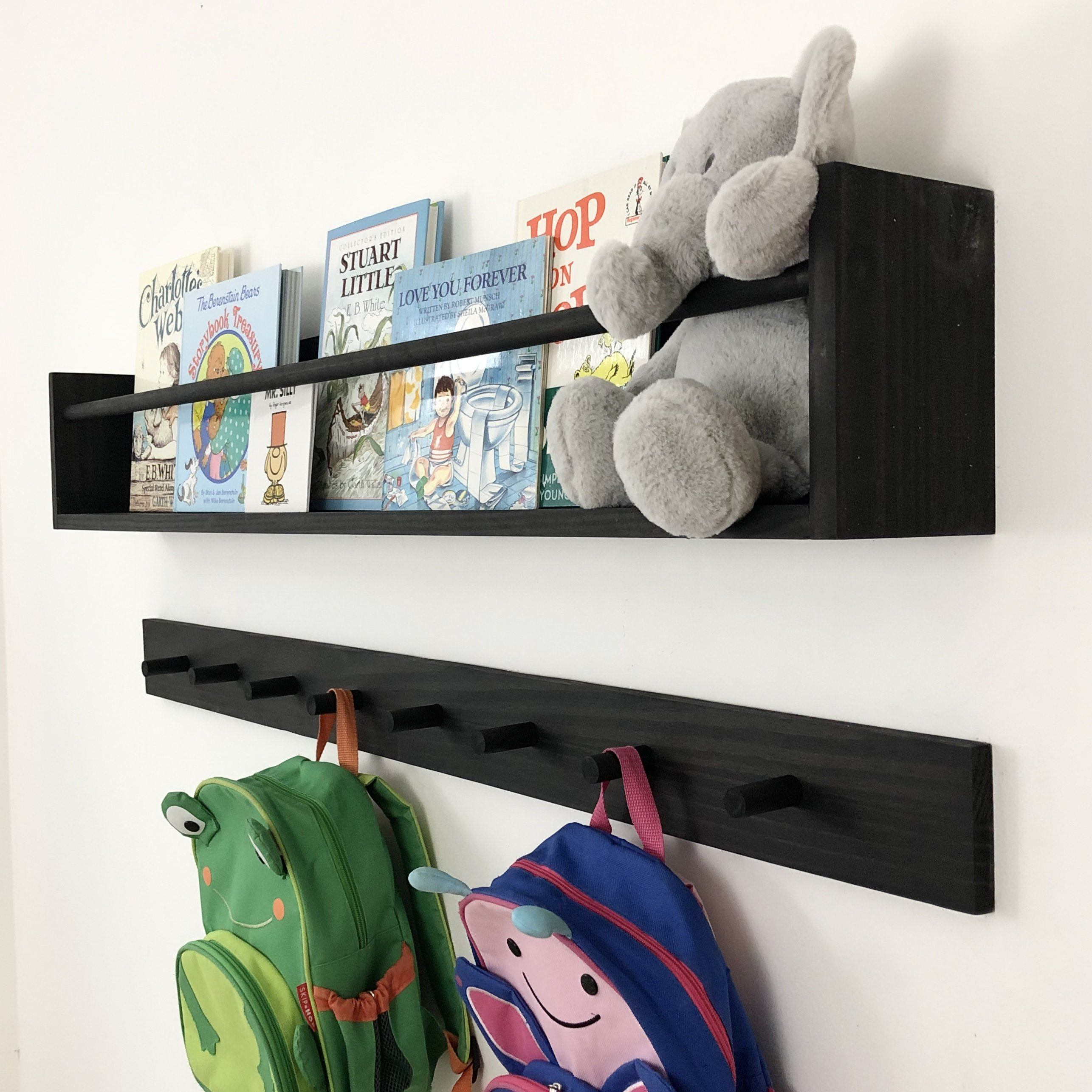 "Ebony Shelf & Peg Rack: 48"" Project Pine Designs"