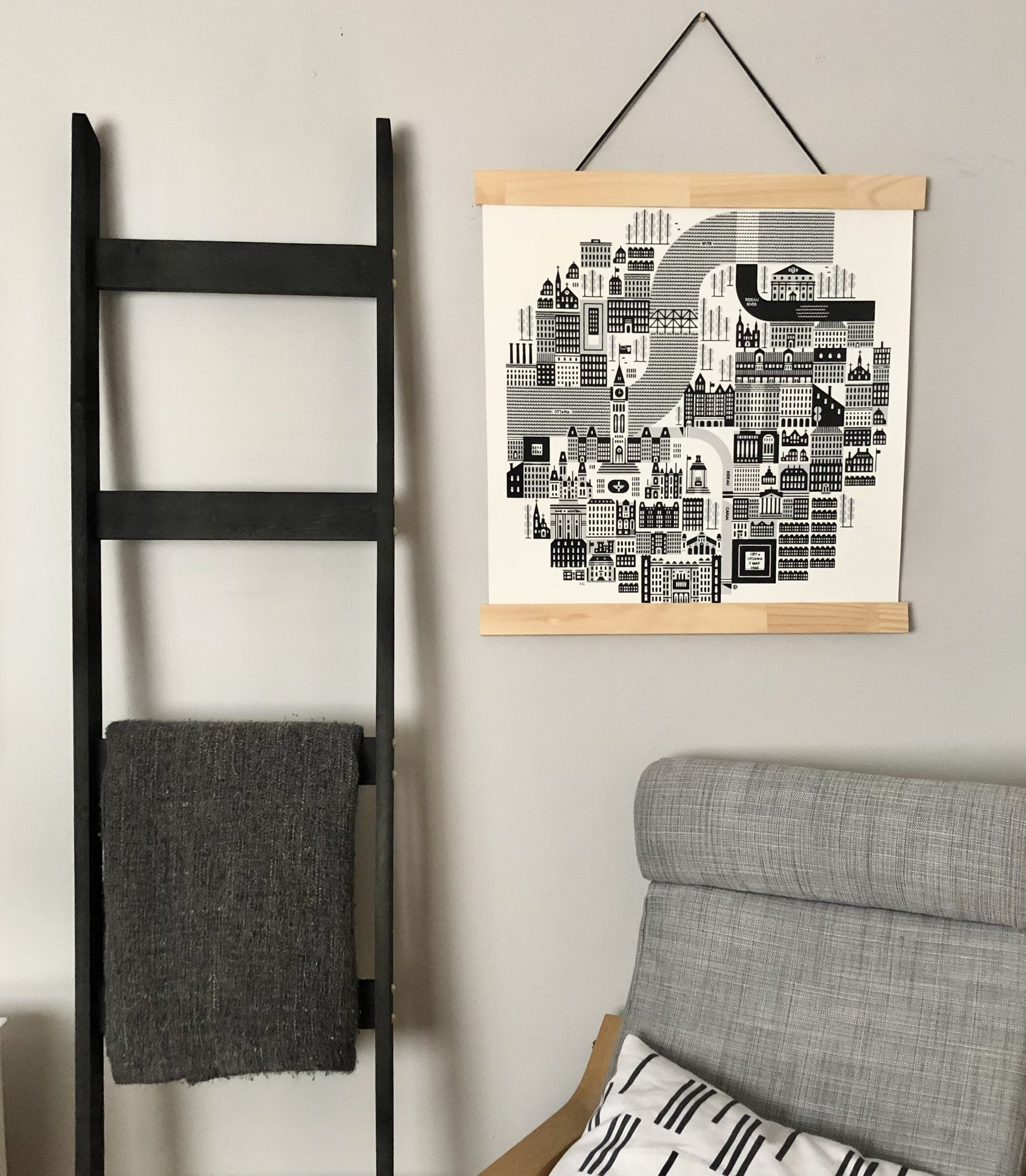 20ft Blanket Ladder in BLACK Stain – Project Pine Designs