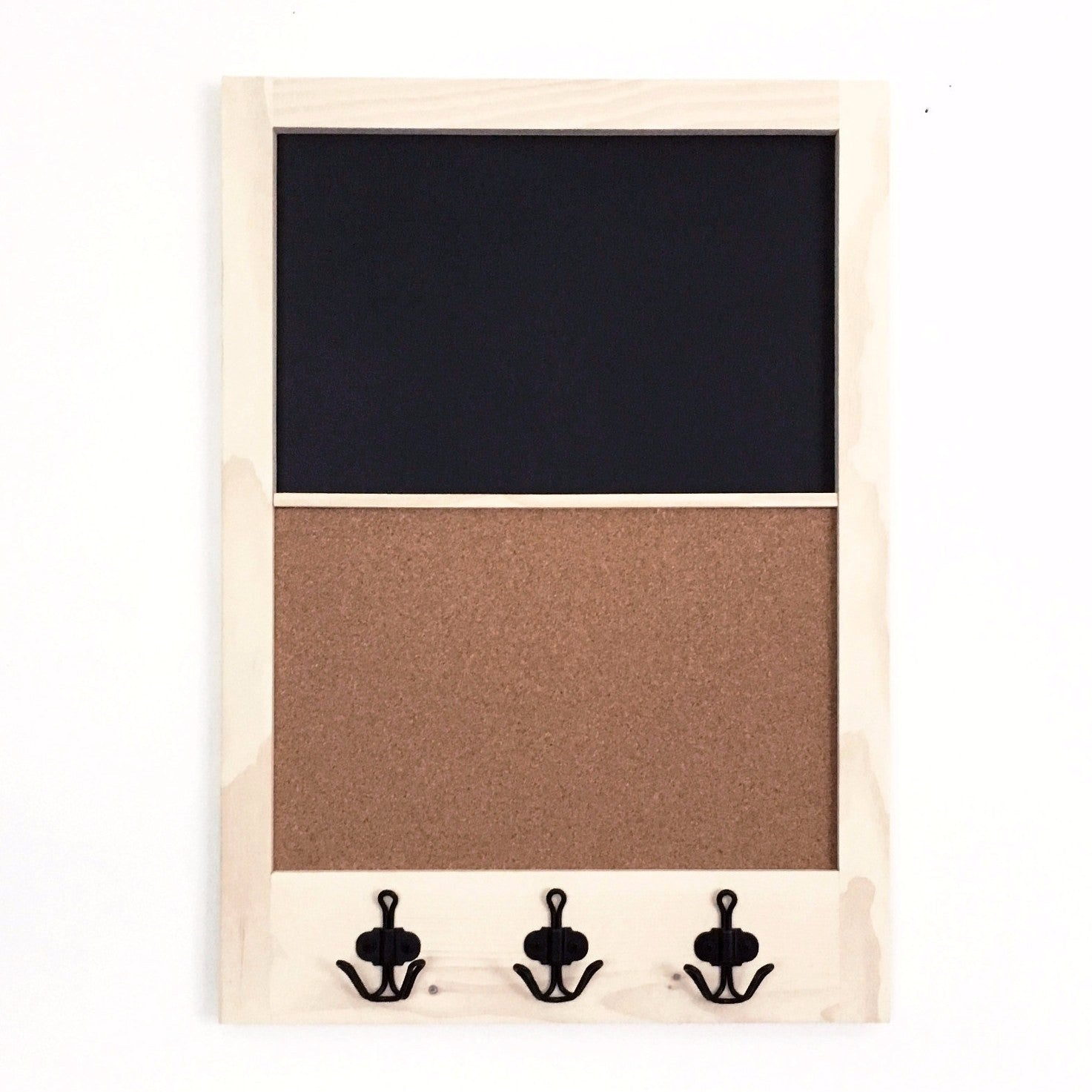 White Wash Chalkboard Corkboard With Pine Frame And Black Anchor