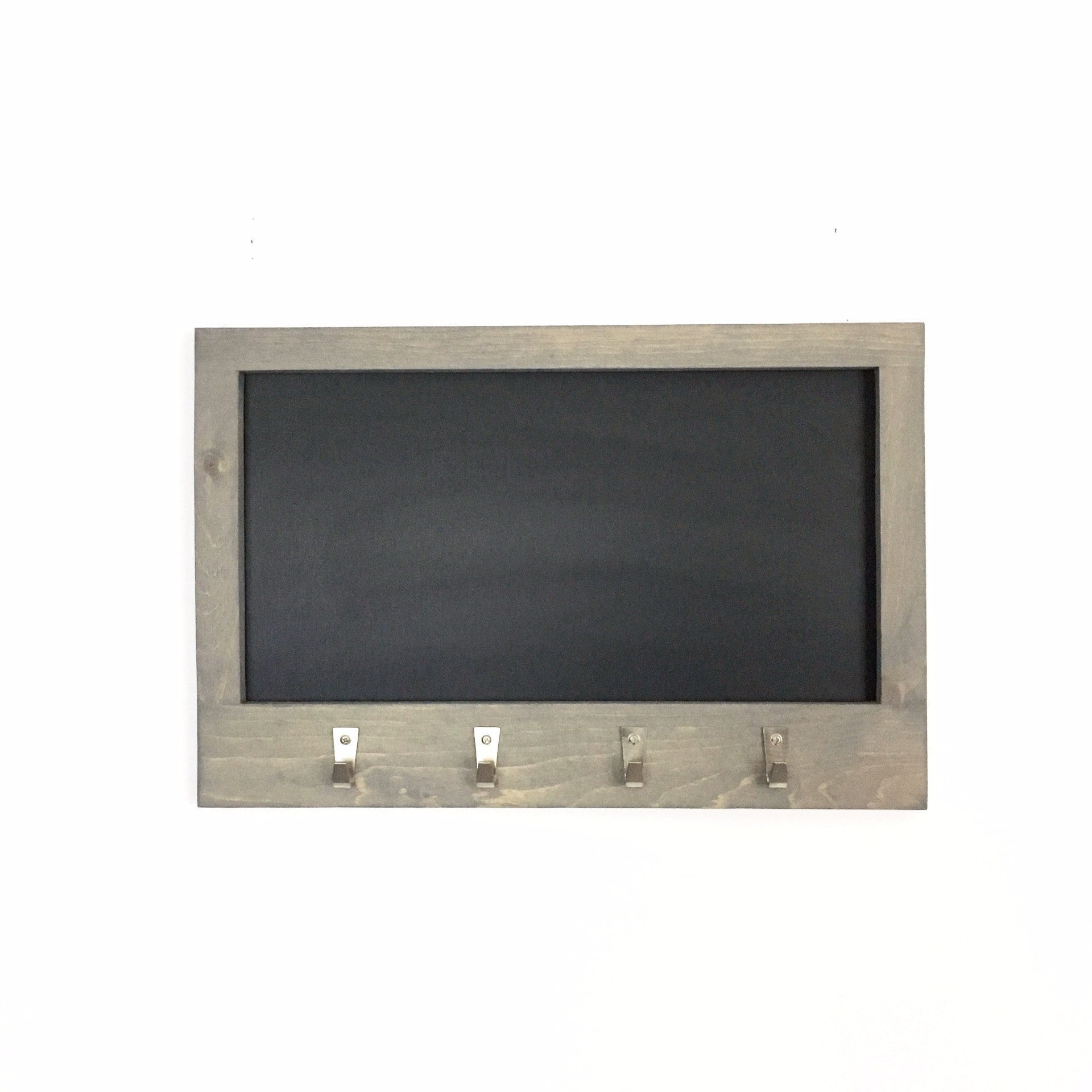 Grey Stained Chalkboard With Pine Frame And 4 Nickel Hooks 24 X 16