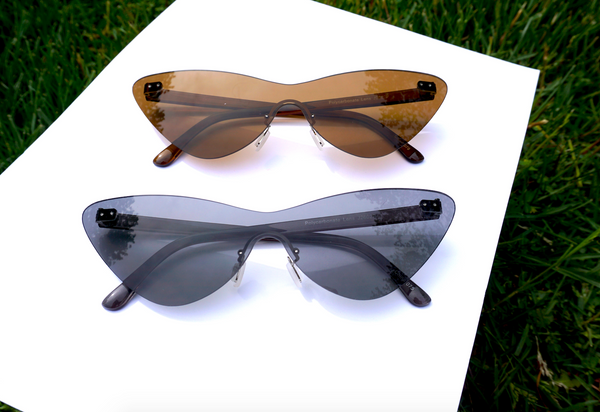 DARK FRAMELESS CATEYE SUNNIES
