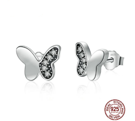 """Butterfly"" 925 Sterling Silver With CZ Stud Earrings"