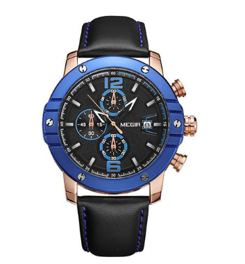 M 556 Quartz Leather Strap Calendar Men's Wrist Watch