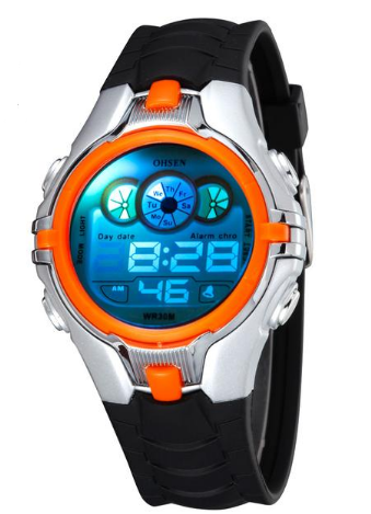 Digital Sports Alarm Date Day Chronograph 7 Colors LED Back Light Waterproof Kids Watch