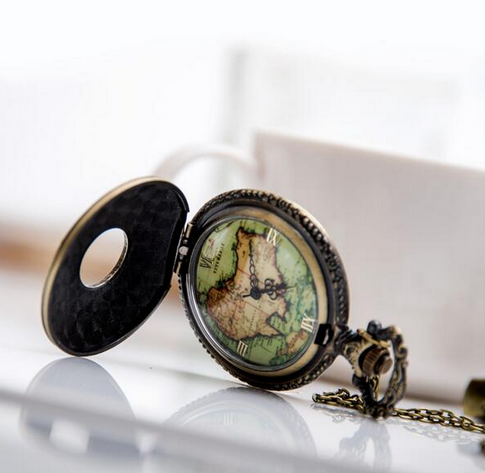 Quartz Movement Bronze Antiques World Map Good Pocket Watch