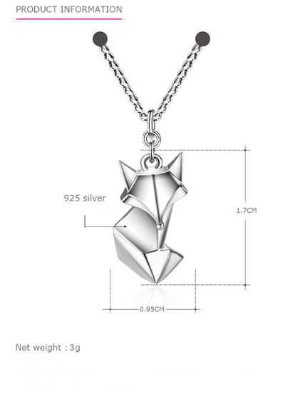"""Foxy""  925 Sterling Silver Pendant Women's Necklace"