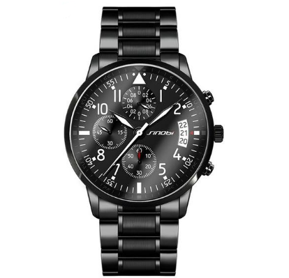 SI 711 Men's Chronograph Calendar Water Resistant Stainless Steel Quartz Wrist Watch