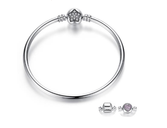 """Charm Bangle"" 925 Sterling Silver Snake Chain Bracelet & Bangle Pave Star Cubic Zirconia"