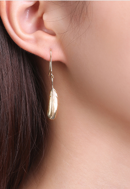 """ Feather ""  Sterling Silver Gold Plated Dangle Women's Earrings"