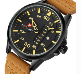N 916 Men's Military Analog Watch with Leather Band