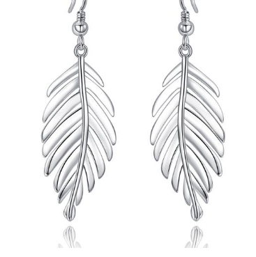 """Leaf""  925 Sterling Silver  Drop Women's Earrings"