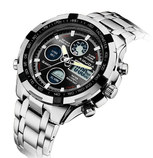 A-2002 Men's Luxury Stainless Steel Dual Display Business Watch