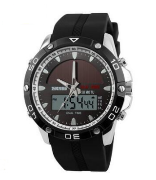 Digital Analog Waterproof Solar Power Sports Casual Men's Watch