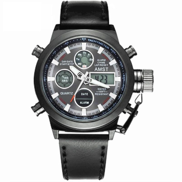 Luxury Men's Outdoor Sports Watch Military Style Leather Strap BLACK
