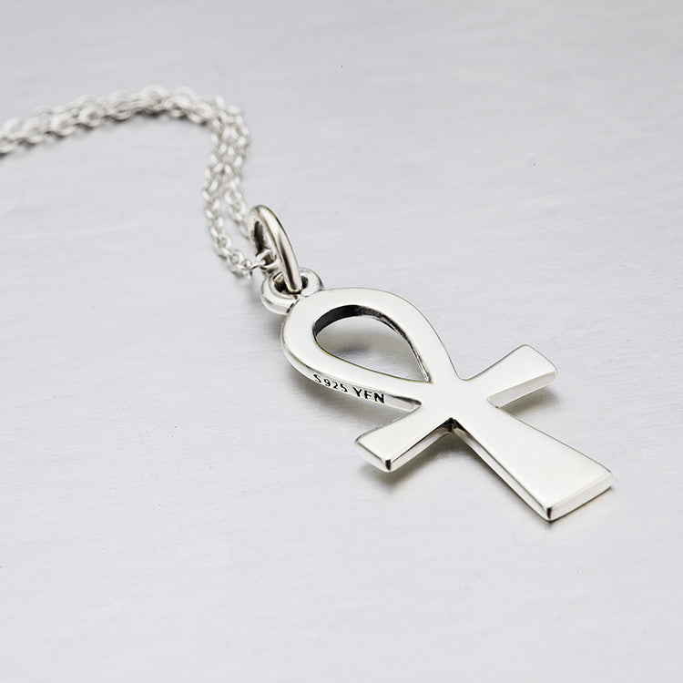 """Ankh Cross"" 925 Sterling Silver Egyptian Ankh Cross Pendant Women's Necklace"