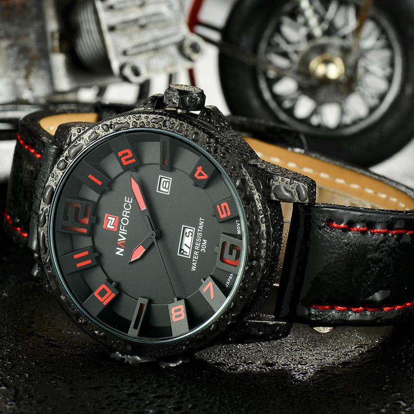L5 Luxury Military Men's Quartz Analog 3D Face Leather Strap Watch