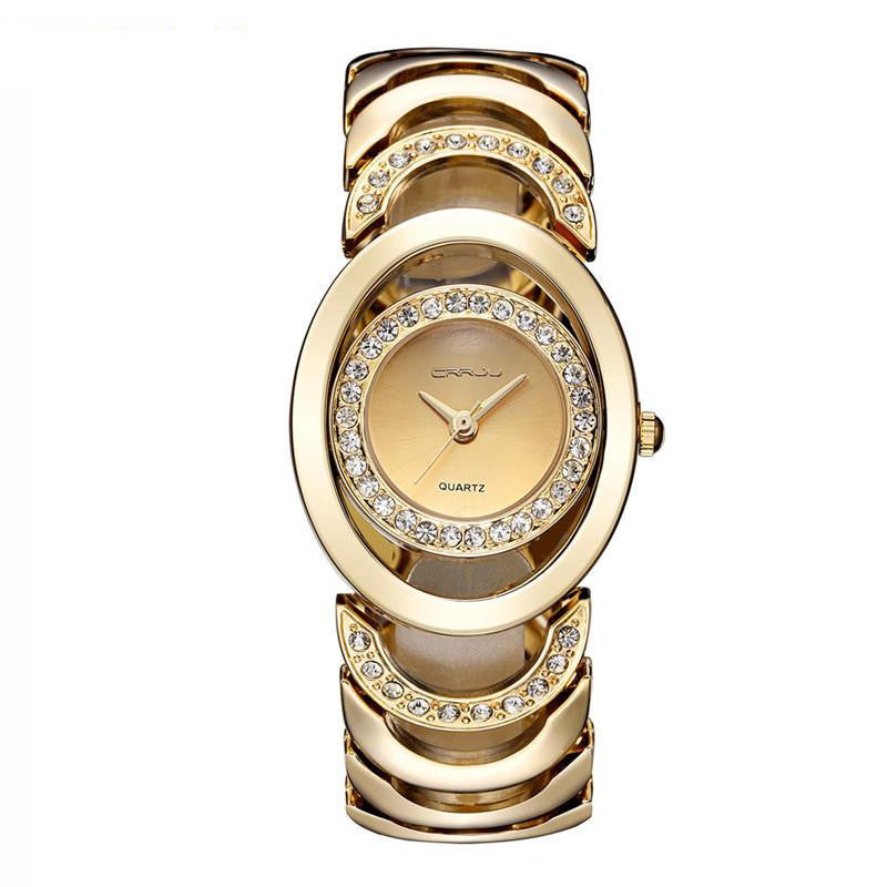 Semi Links and Crystals Women's Analog Dress Watch