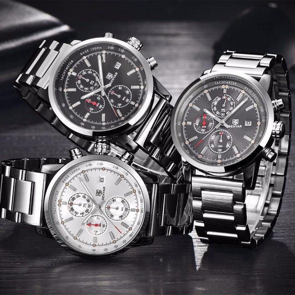 B 122 Men's Classic Chronograph Stainless Steel Water Resistant Quartz Wrist Watch
