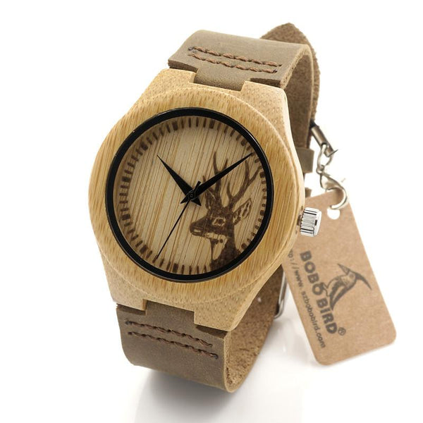 Deer Head Design Women's Bamboo Fashion Wooden Quartz Watch with Leather Strap