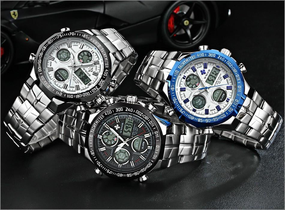 Luxury Waterproof Quartz Digital Men's Multifunction Sports Watch
