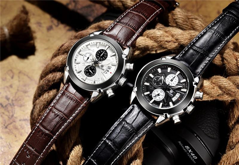 M 312 Men's Sport's Chronograph Quartz Leather Strap Waterproof Watch