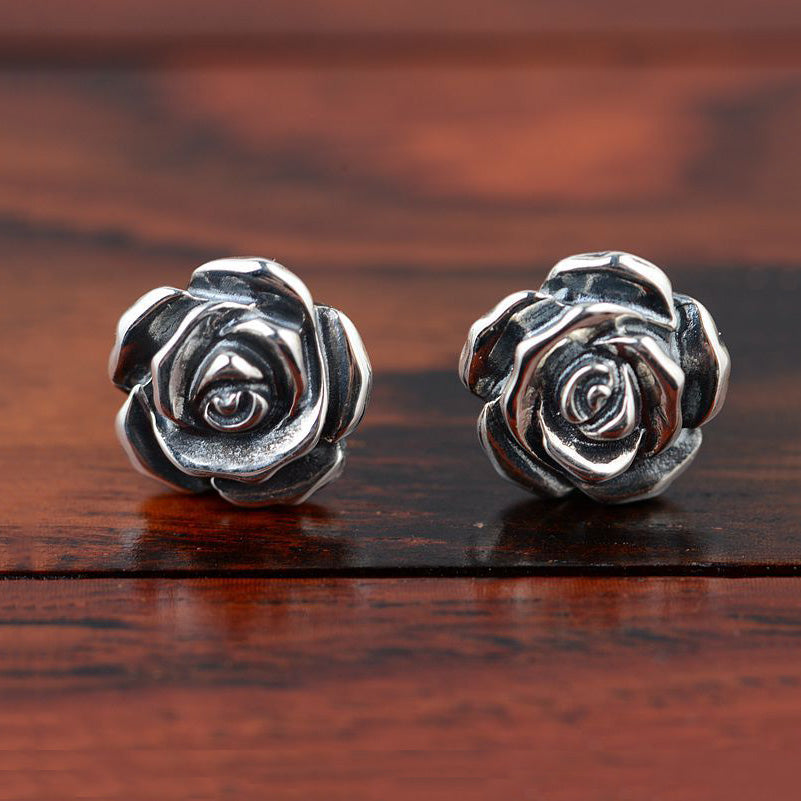 """Vintage Rose"" 925 Sterling Silver Stud Earrings Rose Flower"