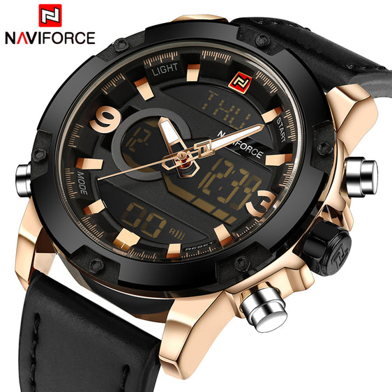 NAVIFORCE Luxury Men's Analog Digital Leather Military Inspired Sports Watch