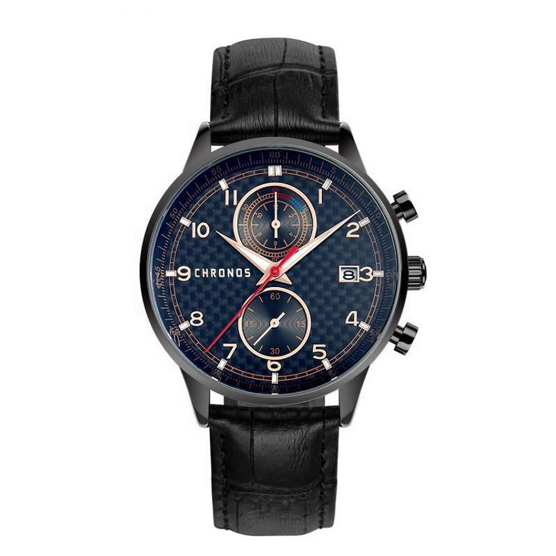 CHRONOS Indigo Business Quartz Analog Watch with Leather Strap